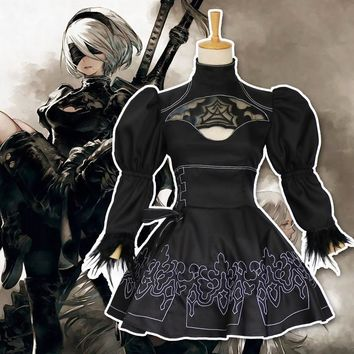 NieR: Automata YoRHa No.2 Type B Cosplay Costume 2B Uniforms Dress Anime Cosplay Halloween Costume Full Set Free Shipping