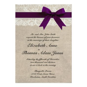Lace and Burlap Rustic Wedding Invitation- Plum 5