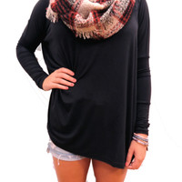 Black Longsleeve Piko Top