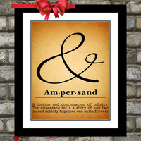 Ampersand Sign Print: Typography Unique Custom Wall Art Home Rustic Vintage Decor Poster Office Decor Gift Print Picture Choose Font & Color