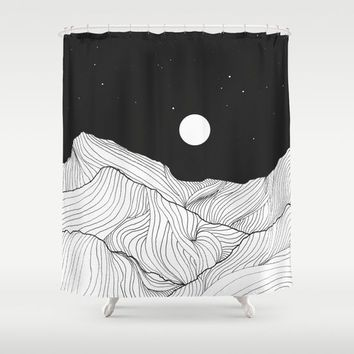 Lines in the mountains II Shower Curtain by Viviana Gonzalez