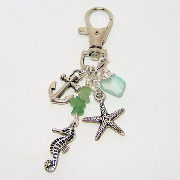 Silver Beach Theme Purse Clip ~ Key Chain - Silver Anchor Seahorse & Starfish Charms - Sea Glass Dangle - Swivel Lobster Clasp - under 10