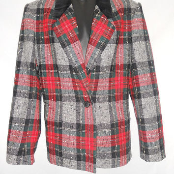 Vintage 80s Jones New York Tartan Blazer Jacket Velvet Collar Plaid Red Green Wool Nylon Size 8