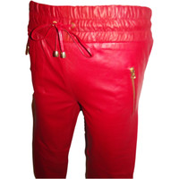 Red Leather Sweat Pants / Joggers Trim Fit Smooth Nappa Sheepskin Black Liner Womens Unisex