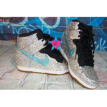 Custom Crystal Bling Nike Dunk Sky Hi Wedges Aqua Swoosh d6651023a3