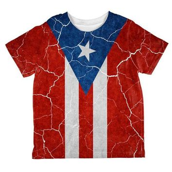 DCCKU3R Distressed Puerto Rican Flag All Over Toddler T Shirt