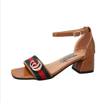 Gucci Fashion Red Army Green Stripe Summer Women Open-Toed Contracted Heel-Strap Sandals Dark Khaki