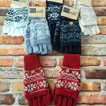 CC Convertible Fair Isle Gloves