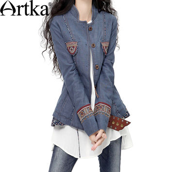 Artka Spring Fashion Floral Button Pocket Outfit New Turandot Stand Collar Patchwork National Embroidered Coat WA10146Q