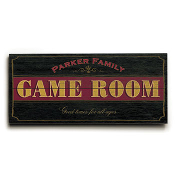 Personalized Family Game Room Wood Sign