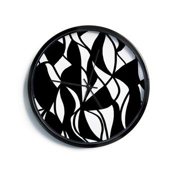 "Emine Ortega ""Sinuous"" Black White Modern Wall Clock"