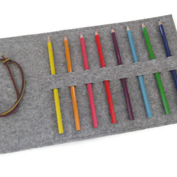Felt Pencil Case- Pencil Holder- Roll Up Pencil Organizer- Grey
