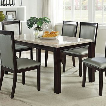 7 pc Marleen II collection espresso finish wood marble top dining table set with silver seats