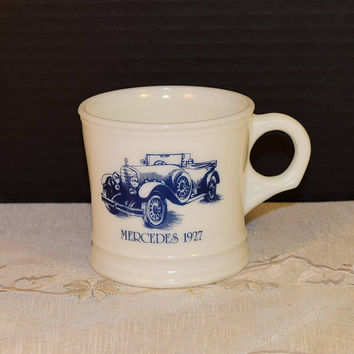 Surrey Milk Glass Shaving Mug 1927 Mercedes Vintage Blue Car Coffee Cup Antique Mercedes Man Cave Decor Made in USA Collectible Prop