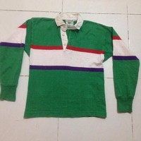 vintage LANDS' END long sleeve rugby jersey stripe polo shirt youth / boy size