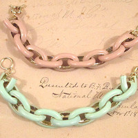 TU Chunky Link Enamel Bracelet - Arm Candy - Natural Bisque or Mint