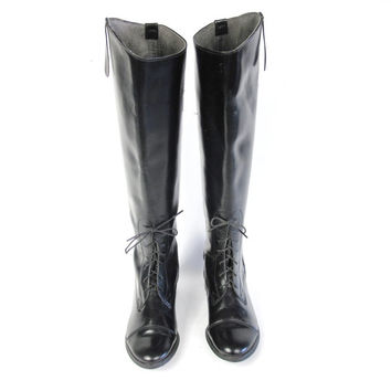 Vintage 80s Equestrian Boots Black Leather Riding Boots Tall Knee High Boots Pull On Boots Lace Up Boots Combat Grunge Boots Size 5.5