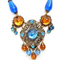 Blue Glass Rhinestone Lavalier Bead Necklace Austria 16""