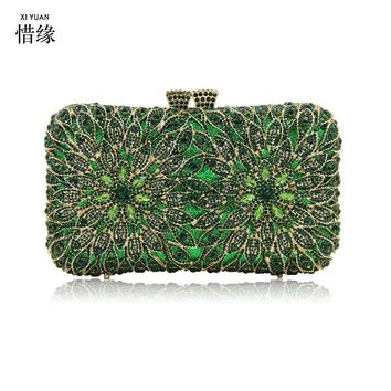 XIYUAN BRAND Crystal Hard Case Box Clutch Eveing Bag and Clutches for Women Party Ball Prom Bridal Wedding clutch purse