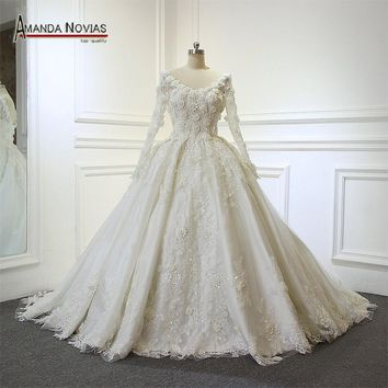 Luxury Shinny Flowers Wedding Dress Back Lace Up Real Work From Amanda Novias Wedding Dress 2017