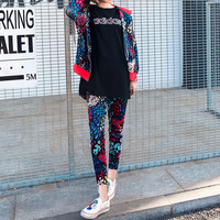 """""""Adidas"""" Fashion Casual Embroidery Letter Floral Print Short Sleeve Cardigan Hooded Set Three-Piece Sportswear"""