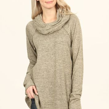 Relaxed Fit Cowl Neck Top