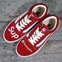 """""""vans+champion+supreme"""" Fashion Women/man Running Sport Casual Shoes Sneakers red"""