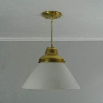 Vintage Milk Glass Cone Brass Pendant Light