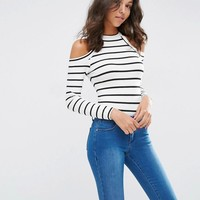 ASOS | ASOS Body With High Neck And Cold Shoulder In Stripe at ASOS