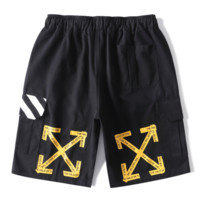 Off White Summer New Fashion Letter Cross Arrow Print Sports Leisure Women Men Shorts Black