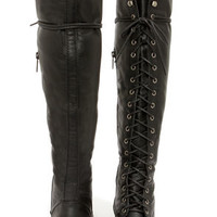 Alabama 12 Black Lace-Up Over the Knee Boots