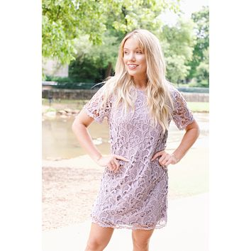 Lovely Lavender Lace Dress, Lilac
