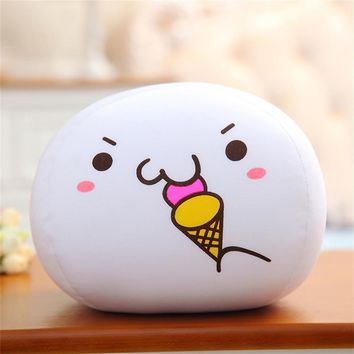 Eating Ice Cream - White Emoji Pillow
