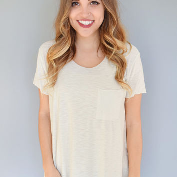 Alpine Side Slit Tee Ivory