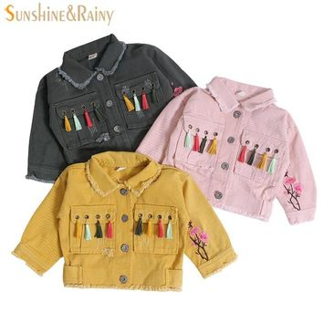 Trendy Baby Girl Jackets Coats Tassel Flower Embroidered Denim Jacket For Toddler Girls Coat Autumn Kids Jeans Jackets Outerwear Winter AT_94_13