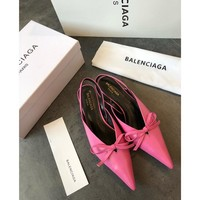 Balenciaga Knife Mules Pink Pointed Toe Satin Mule With Kitten Heel - Best Online Sale