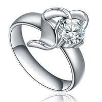 Stainless Steel Open Heart W. Cubic Zirconia Ring