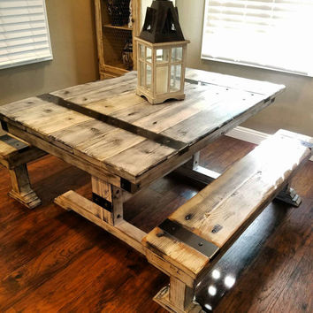 Rustic Distressed Dining Table and Bench with Steel Hardware.