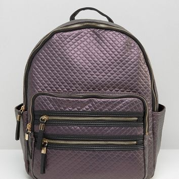 New Look Metallic Quilted Backpack