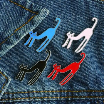 Trendy 4Pcs/set Black White White Red Cute Cats Brooch Buckle Pin Clothing Denim Jacket Shirt Pins Badge Cartoon Jewelry Gifts for Kids AT_94_13