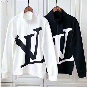 LV Tide brand loose round neck men and women models half zipper embroidery high collar coat