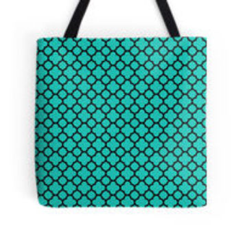 Black and Turquoise Quatrefoil Pattern by TigerLynx