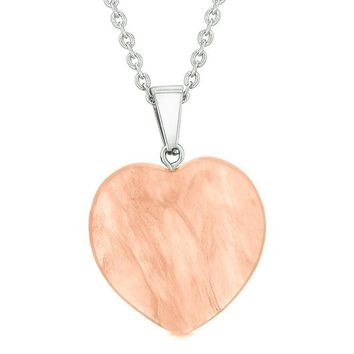 Lucky Puffy Heart Charm Crystal Simulated Cherry Quartz Magic Powers Amulet Pendant Necklace