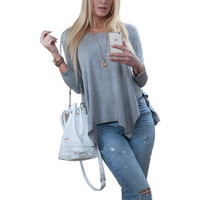 2017 Autumn Long Sleeve O-neck Solid Fashion Irrgular Hem T-shirt Tops For Women Casual Loose 2 Color  Tops  X0374