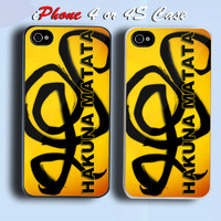 HAKUNA MATATA Custom iPhone 4 or 4S Case Cover