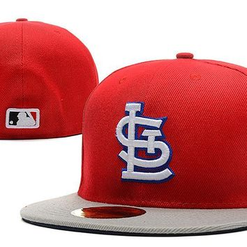LMFON St. Louis Cardinals New Era MLB Authentic Collection 59FIFTY Hat Red-Grey