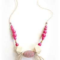 Wooden bead necklace, wooden bead jewelry, pink beaded necklace, pink jewelry