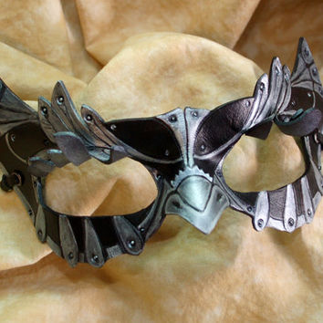 Made to Order -- SteamOwlet Leather Black and Silver Steampunk Owl Cosplay Mask