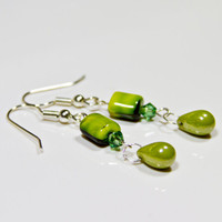 Green Beaded Earrings Gift For Women Handcrafted Dangles Colorful Drop Earrings Handmade Gift Ideas Beads & Crystal Drops Birthday Present
