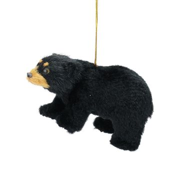 "4"" Rustic Lodge Furry Standing Black Bear Christmas Ornament"